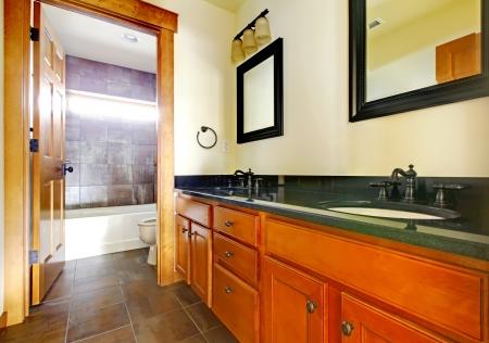 New modern beautiful bathroom in  luxury home interior. Stock Photo - 18283830