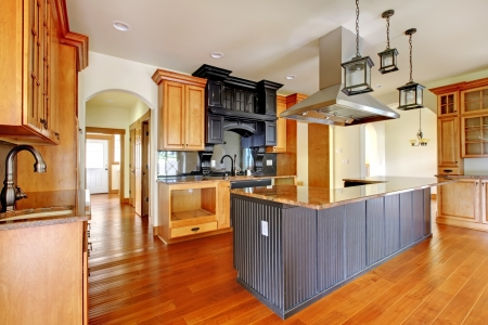New construction luxury home interior.Kitchen with beautiful details. photo