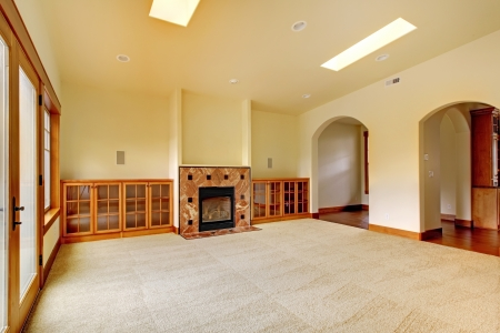 Large empty room with fireplace and shelves. New luxury home interior. Stock Photo - 18283824