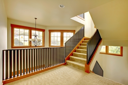 Staircase with metal railing. New luxury home inter. Stock Photo - 18283813