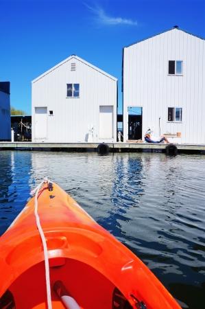 tacoma: Boat house in Tacoma, WA and orange kayak.