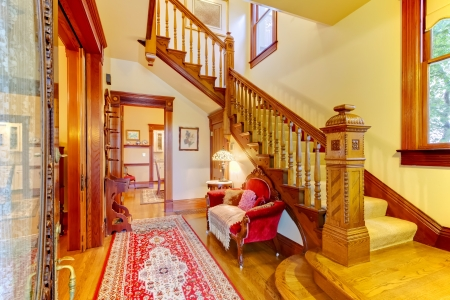 Beautiful Amecian old house entrance with wood staircase. Stock Photo - 18457046