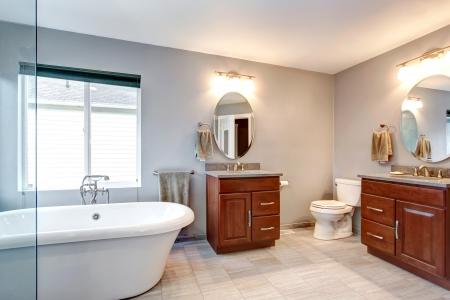 white bathroom: Beautiful grey new luxury modern bathroom interior with two separate sinks.