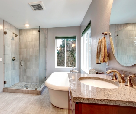Beautiful grey new modern bathroom interior with glass shower and tub.