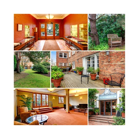 Old classic American apartment brick building exterior and interior collage  Stock Photo - 21076571