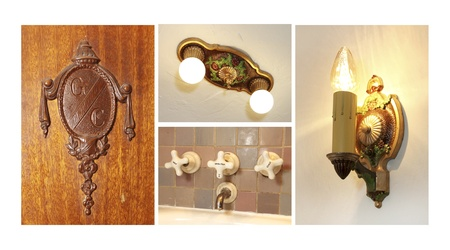 Antique light fixtures, door kno and faucet collage. Stock Photo - 20992902