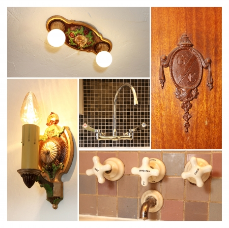 Antique light fixtures, door kno and faucet collage.