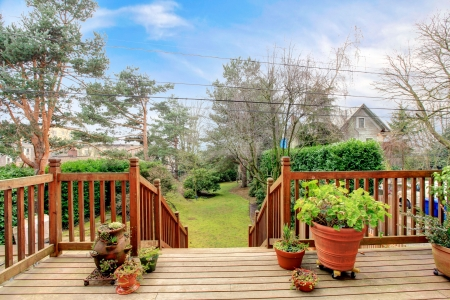 back yard: Wood deck with railings and spring back yard garden