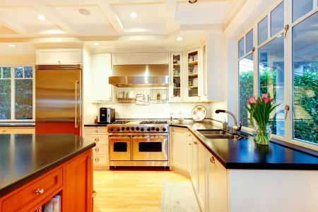 kitchen cabinets: White large luxury kitchen with huge stove and refrigerator.