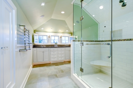 windows and doors: White luxury bathroom cabinet with two sinks, vaulted ceiling and amazing shower.