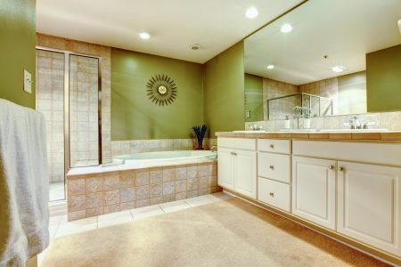 Green and white bathroom with two sinks and closet.