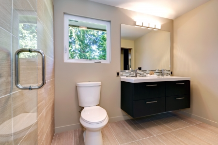 windows and doors: New simple modern bathroom with double sinks and natural  color ceramic tile.