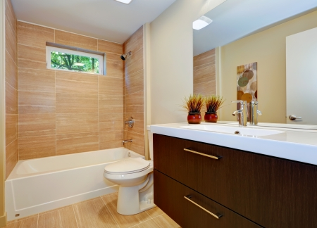 double sink: Modern new bathroom design with double sink and white tub.