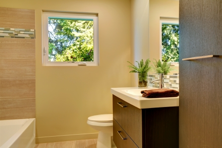 Beige modern new bathroom with brown wood cabinets and tub. Stock Photo - 20993036