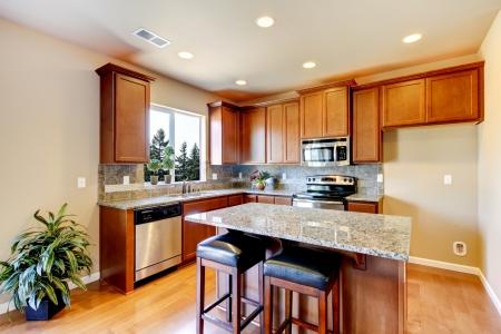 堅木張りの床と暗い茶色キャビネットの新しい家庭の台所のインテリア。