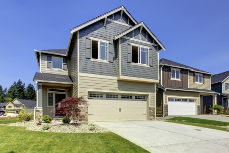 Typical American midclass new development house exterior.