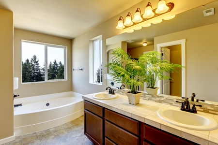 bathroom tile: New home bathroom  interior with shower and bath combination, wood cabinet and toilet. Stock Photo