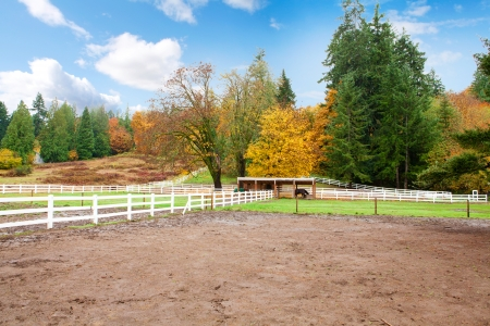Northwest horse rach with fall changing leaves and white fence. Stock Photo - 23131488