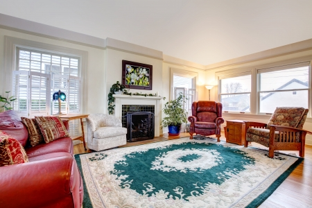rearrange: Big living room with fireplace and classic style furniture