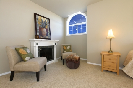 rearrange: Elegant bedroom rest area  with a fireplace Stock Photo