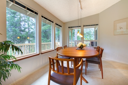 rearrange: Cute dining room with wooden brown table set