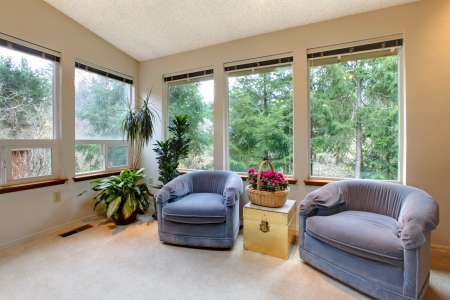 comfortable: Cozy living room with comfortable blue armchairs