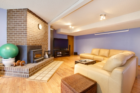 rearrange: Country style large living room with fireplace and home theatre