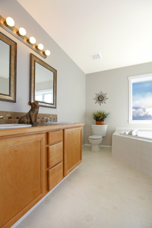 Luxury light bathroom with wooden storage combination photo