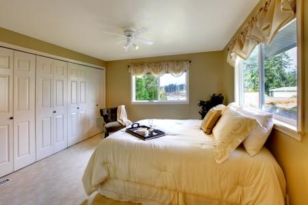 walk in: Light tones bedroom with a queen size bed, beige carpet floor, walk-in closet Stock Photo