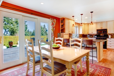 Rustic style kitchen and dining room. Workout deck from a dining room Stock Photo - 25430451