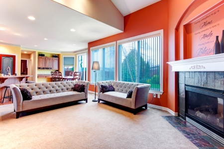 wood blinds: Great color combination. Orange walls make  your living room stand out