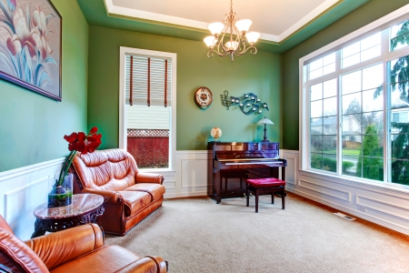 Green living room with wide window, carpet floor and brown furniture. Great piano spot