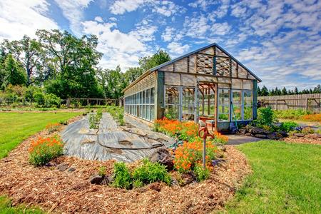 fenced: Fenced farm backyard with big green house