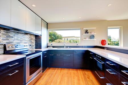 Elegante cucina con combinazione di mobili in legno nero accostata con alzatina in pietra e vaso decorativo e mensola a muro Archivio Fotografico