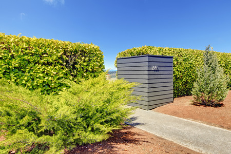 trimmed: Trimmed hedge naturally match with concrete walkway and rustic sand Stock Photo