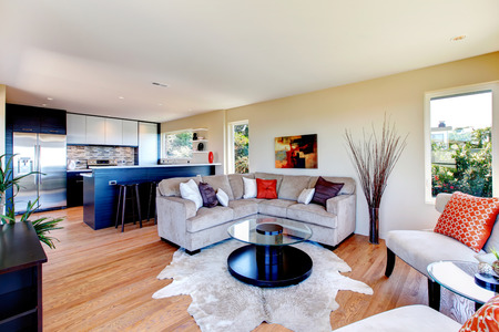 Bright furnished living room with mocha furniture and rug great match with black wood kitchen room photo