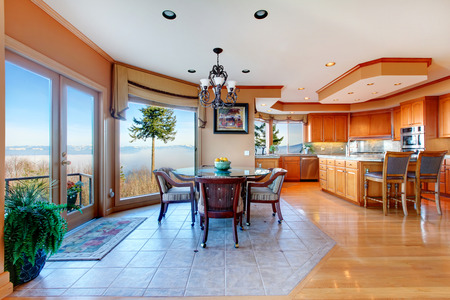 stunning: Amazing large luxury kitchen room and dining area with stuning mountain view. Combined hardwood and concrete floor, coffered ceiling