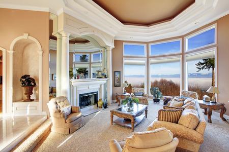 Luxury living room with amazing window view photo