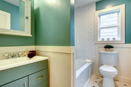 Aqua en witte kleine badkamer ingericht met zee ster en houten bloempot.