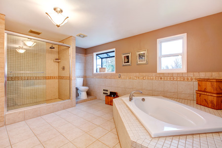 bathtub: Large bathroom with glass door shower and bath tub