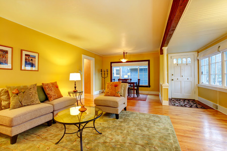 Furnished living room with entrance hall and dining area. Yellow walls great match with white plank ceiling and entrance door Stock Photo - 25668284