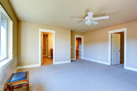 Bright empty room with carpet floor, ceiling fan has walk-in closet and bathroom photo