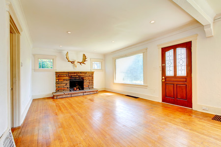 Bright living room with hardwood floor, fireplace and elk skull ont he wall photo