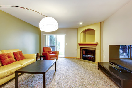 Bright living room with yellow and orange couch and chair, dark brown wood coffee table, carpet floor, tv , cozy fireplace and arch niche above it. photo