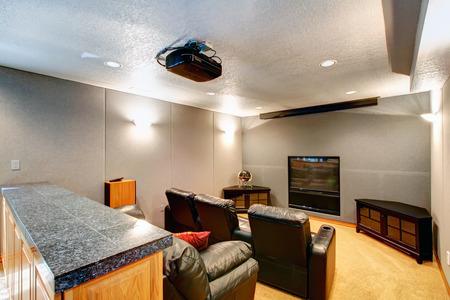 黒い革張りの椅子とソファ、大きなホームシアター ブラック木製キャビネット、テレビ、プロジェクター。
