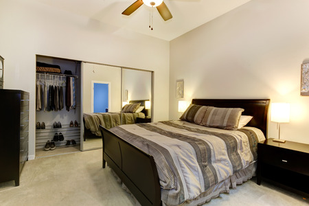 Elegant bedroom with dark brown furniture, mirror door closet photo