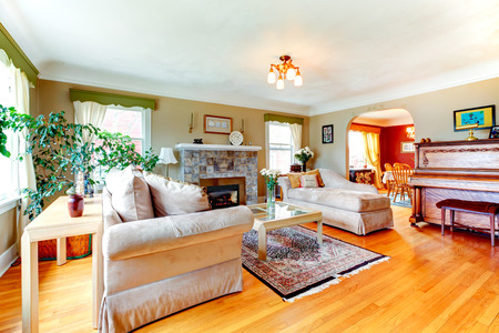 Bright cozy living room with hardwood floor and rug, fireplace, piano and comfortable sofas photo