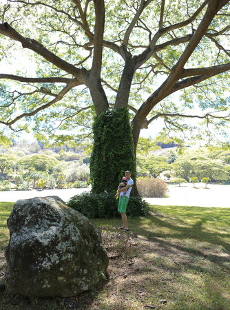 six months: Father is carring his lovely six months baby girl in picturesque tropical garden in Kauai Stock Photo