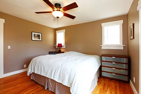 Bedroom with brown walls and blue blanket