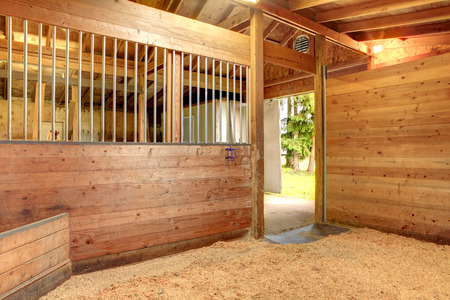 View of the clean horse barn stall with an open door. Stock Photo